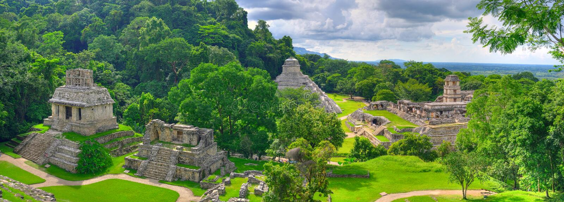 Palenque Ancient Maya Temples, Mexico. A panoramic view of the ancient Maya temples of Palenque, Mexico stock photos