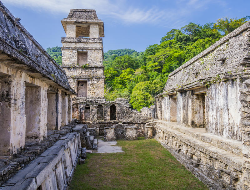 Palenque fördärvar, slotten och observationstornet, Chiapas, Mexico arkivfoton