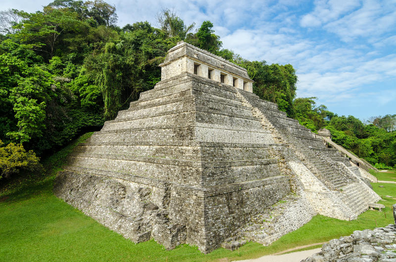 Palenque Temple of Inscriptions. Temple of Inscriptions, the most important temple in the ancient Mayan city of Palenque royalty free stock image