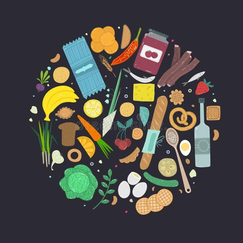 Paleo食物圈子概念 在手拉的概略的样式做的健康饮食illustraion 向量例证