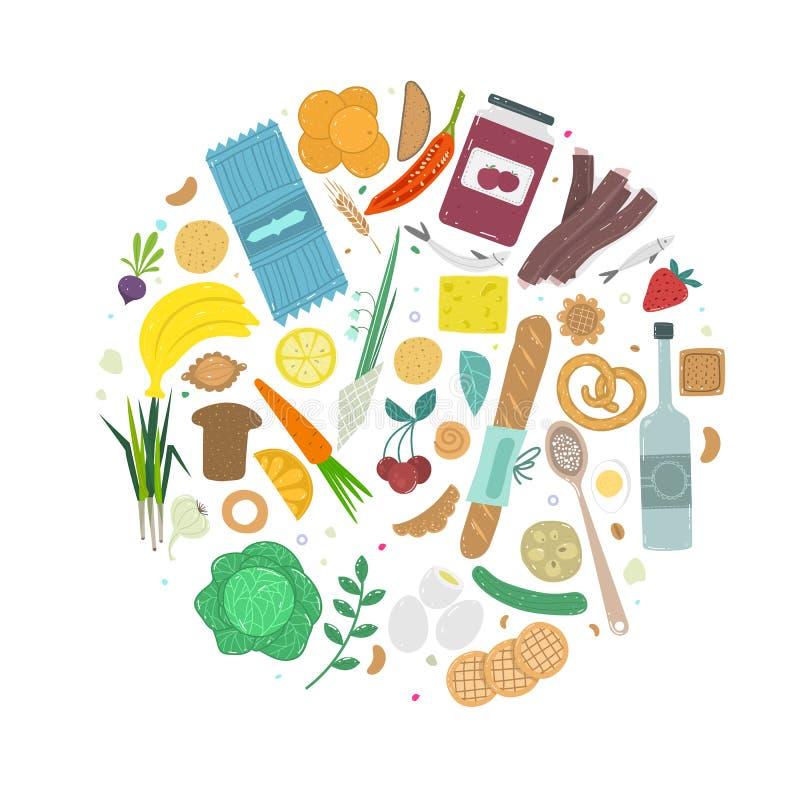 Paleo食物圈子概念 在手拉的概略的样式做的健康饮食illustraion 库存例证