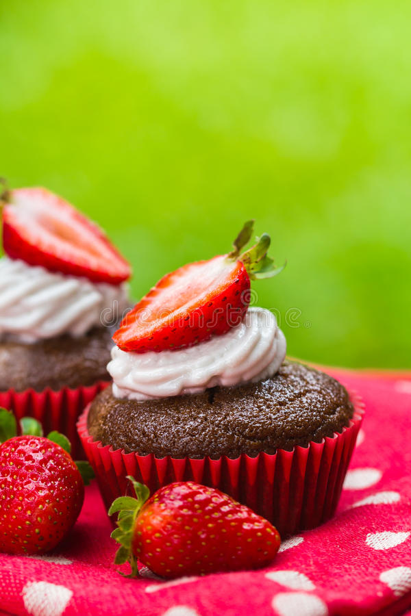 Paleo chocolate cupcakes with coconut cream and strawberries royalty free stock photo