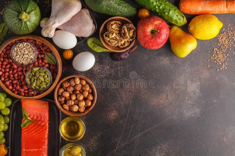 Paleo diet concept. Balanced food frame background. Copy space, stock image