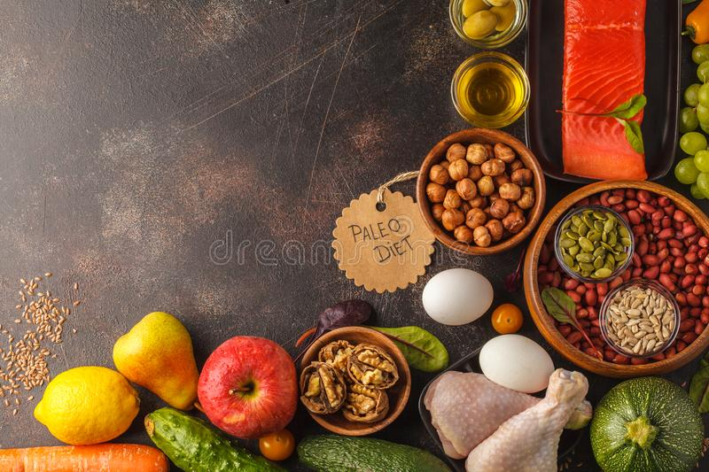 Paleo diet concept. Balanced food frame background. Copy space, royalty free stock photos