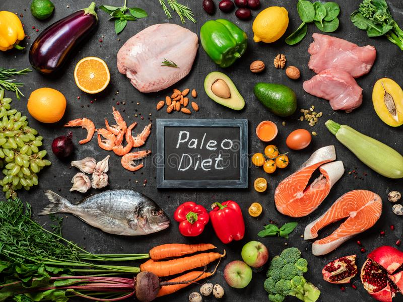 Paleo diet concept, top view or flat lay royalty free stock images