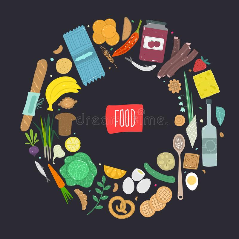 Paleo food circle concept. Healthy diet illustraion made in handdrawn rough style. vector illustration