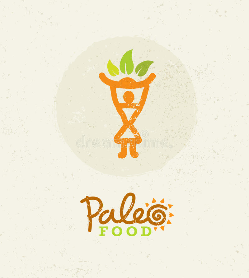 Paleo Food Clean Eating Vector Concept on Organic Background royalty free illustration
