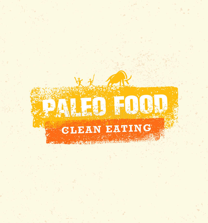 Paleo Food Clean Eating Vector Concept on Organic Background stock illustration