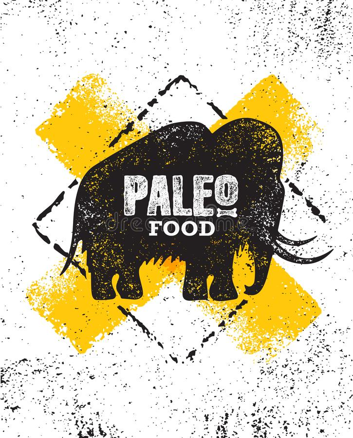 Paleo Food Diet Primal Nutrition Organic Wholesome Illustration Concept On Rough Wall Background. Mammoth Vector Sign. royalty free illustration
