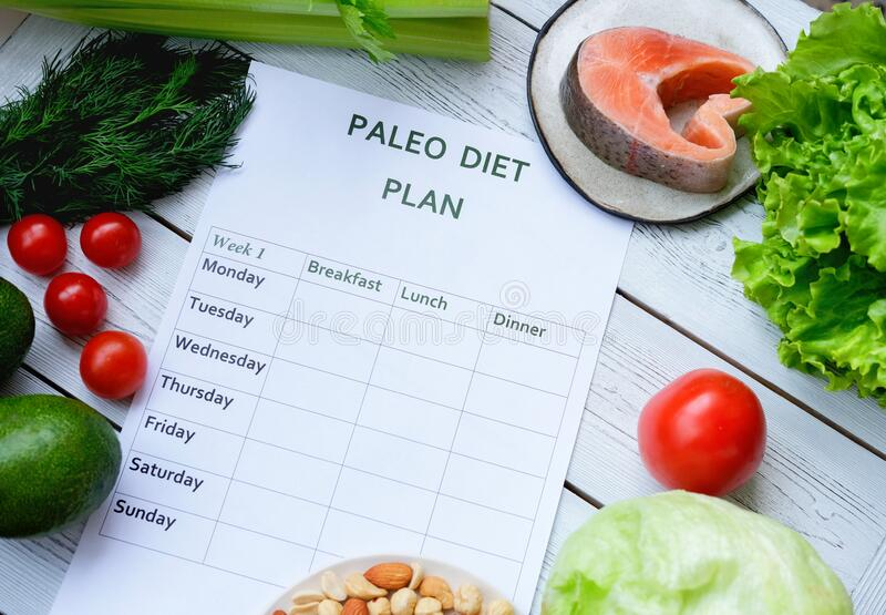 Paleo meal plan for a week on a table among tomatoes, fish, nuts, greens and avocado. Healthy eating, dieting, slimming and weigh loss concept, top view. less stock photo