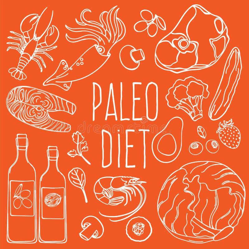 PALEO-Reeks van de het Dieet Vectorillustratie van het INGREDIËNTEN de Gezonde Voedsel royalty-vrije stock afbeeldingen