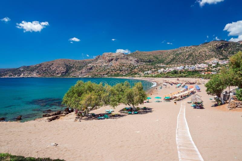 Paleochora海滩在克利特 希腊 库存照片