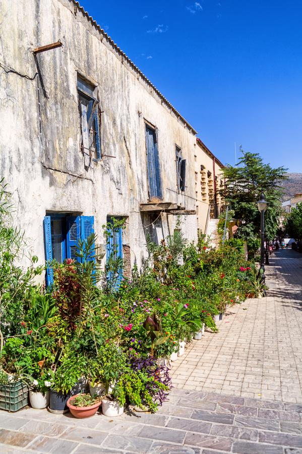 Paleochora streets and building in Crete island, Greece royalty free stock photo