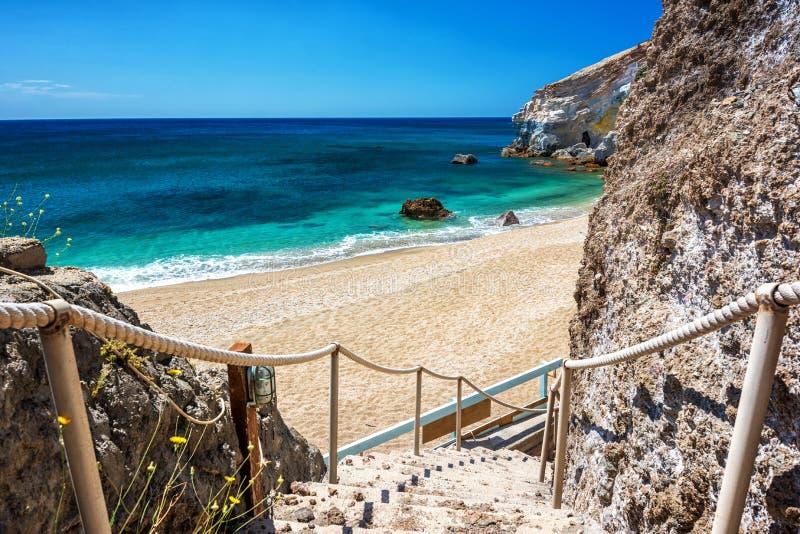 Paleochori beach, Milos Greece stock image