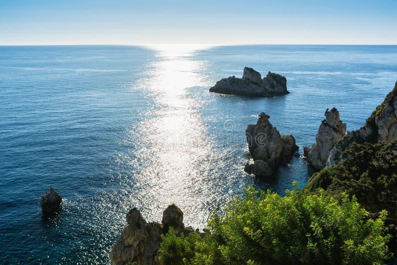Paleokastrica海岸,科孚岛,希腊美好的海景  免版税库存照片