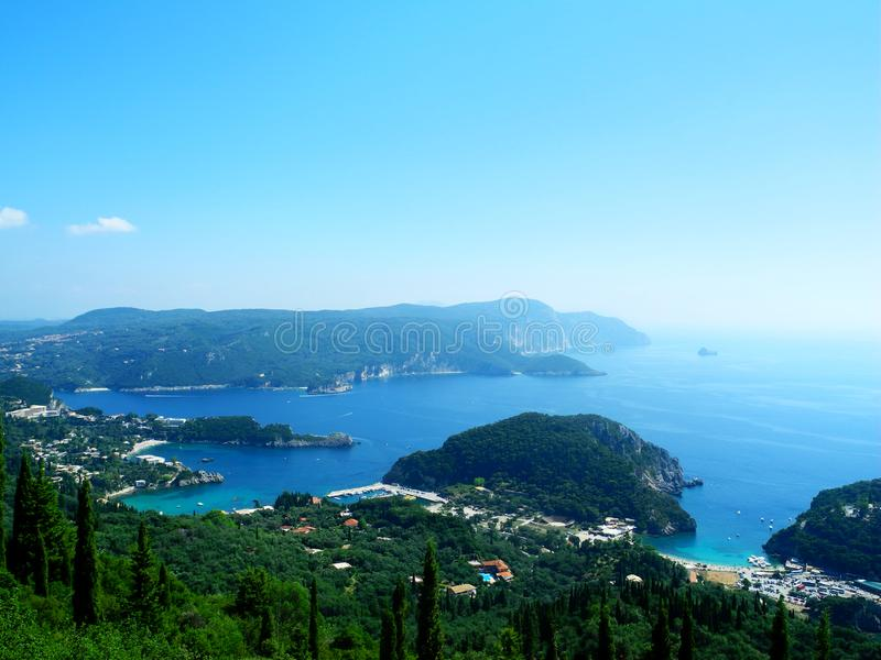Paleokastrica beach on Corfu Kerkyra, Greece. royalty free stock photo