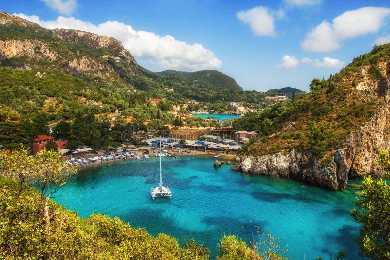 Paleokastritsa海湾,科孚岛,希腊 库存照片