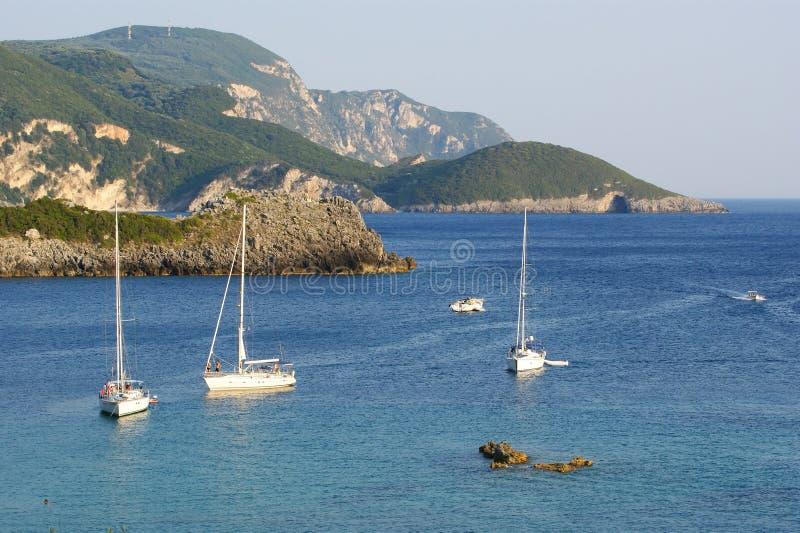 Paleokastritsa, console Corfu, mar Ionian, Greece fotos de stock royalty free