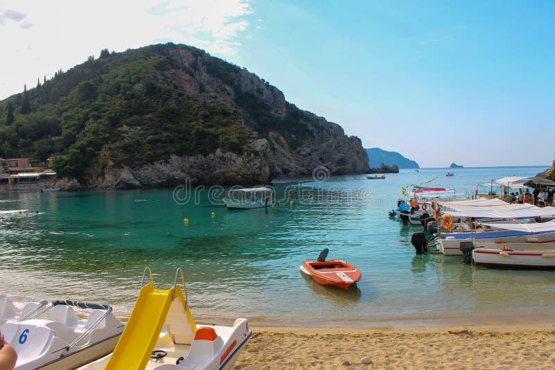 Island of Corfu in Greece. Paleokastritsa in the island of Corfu in Greece - image. June 2019 royalty free stock images