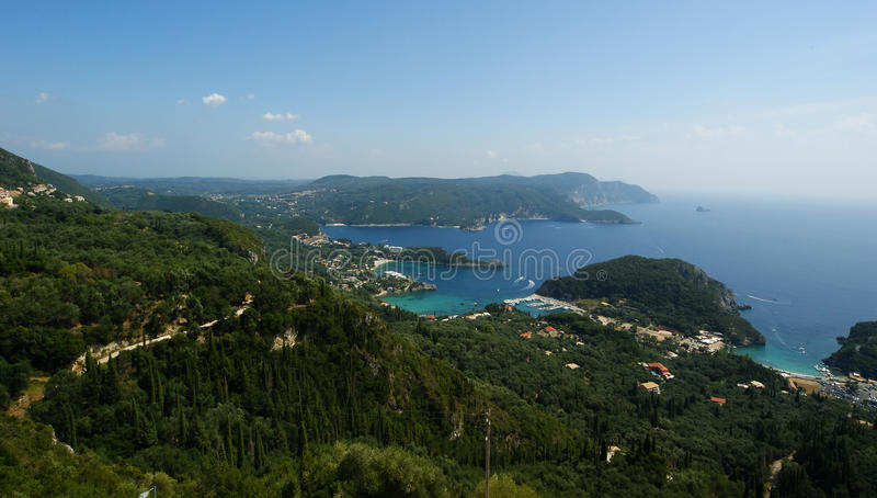 Paleokastritsa, Island Corfu, Ionian Sea, Greece Royalty Free Stock Images