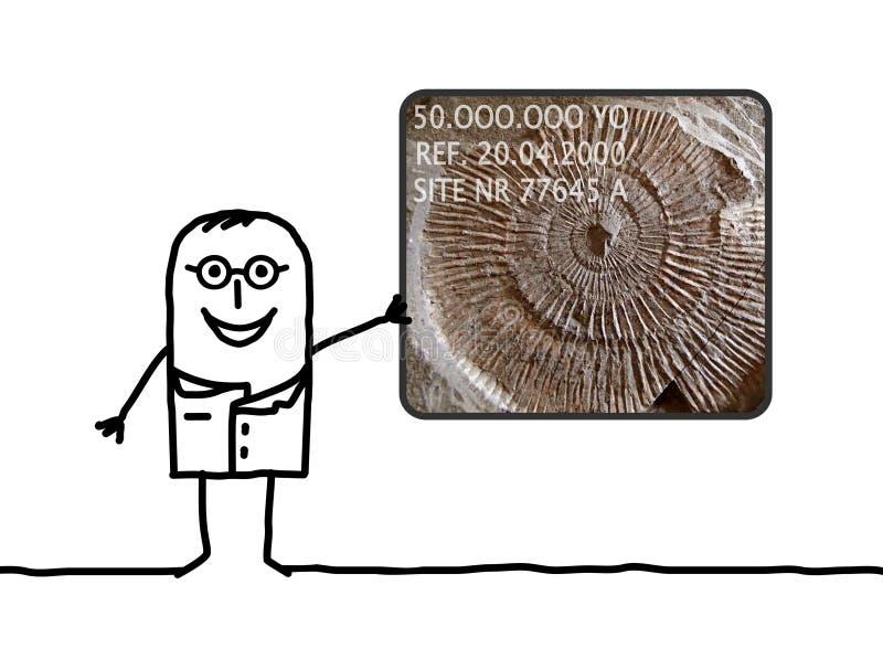 Paleontologist do homem dos desenhos animados que mostra um fóssil ilustração do vetor