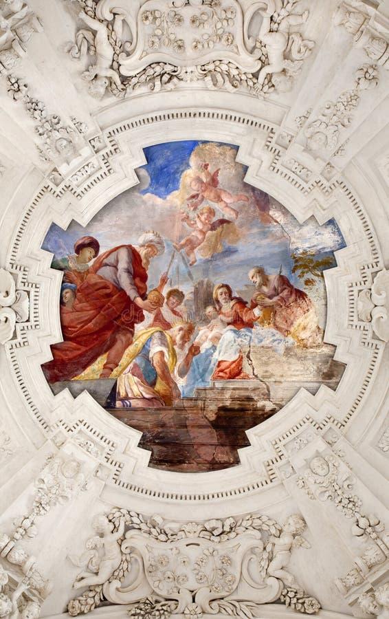 Palermo - Adoration Of Magi Scene On Ceiling Of Side Nave In Church La Chiesa Del Gesu Stock Image