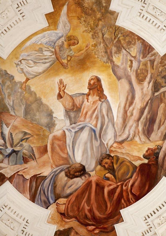 Palermo - affresco di Gesù in Gethsemane immagini stock libere da diritti