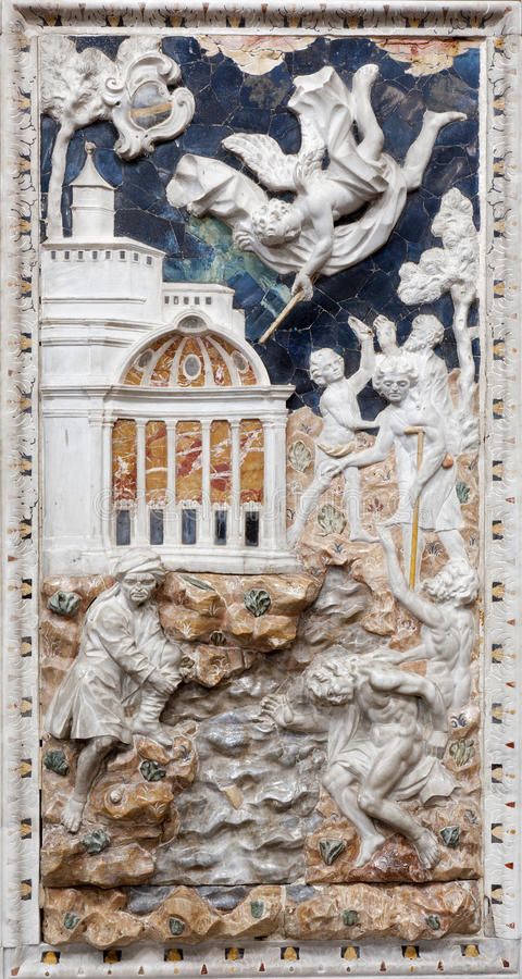 Palermo - Baroque relief of Old Testament scene in church Chiesa di Santa Caterina. Build in years 1566 - 1596 April 8, 2013 in Palermo, Italy royalty free stock photography