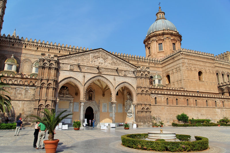 Palermo Cathedral Facade Sicily Italy royalty free stock photo