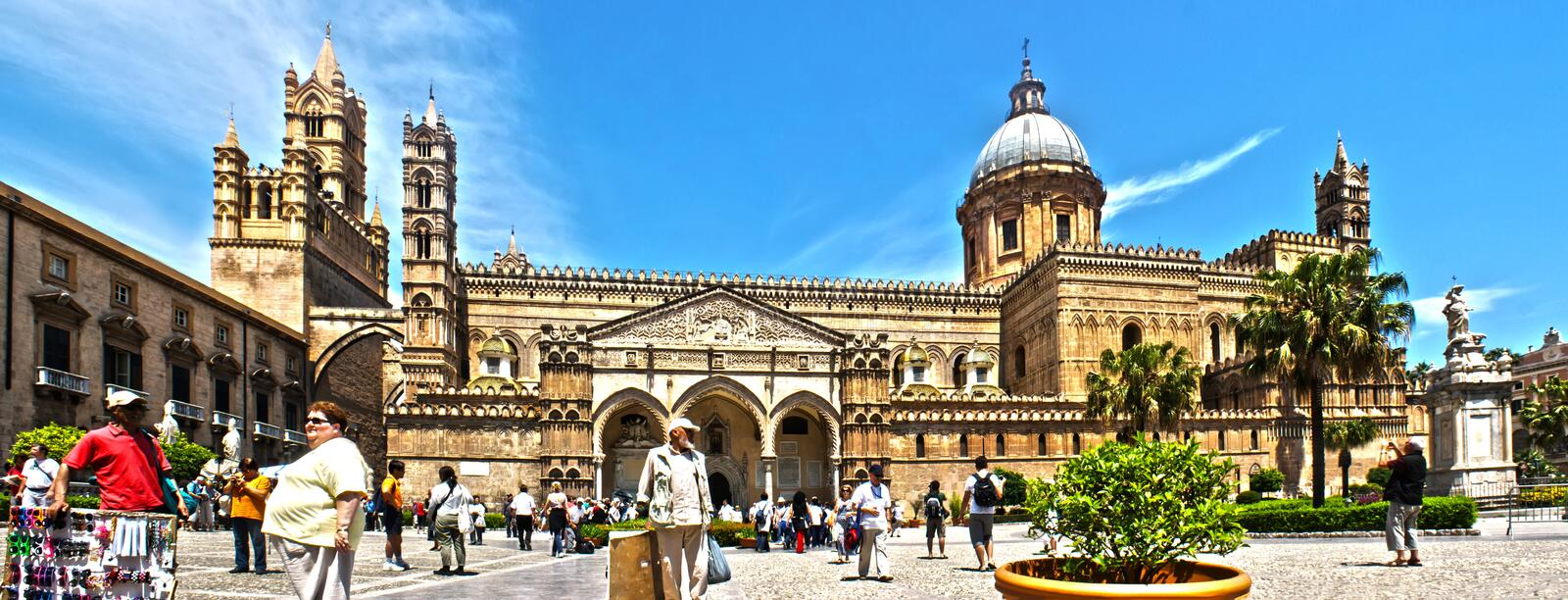 Palermo Cathedral photomerge. PALERMO - May 28 , THOUSANDS OF TOURISTS IN EVERY DAY VISIT TO THE CATHEDRAL OF PALERMO, 28 May 2011, Sicily, Italy royalty free stock photography