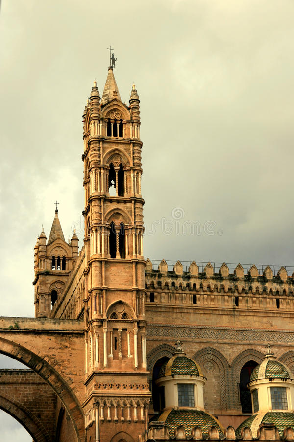 Download Palermo Cathedral Tower On Cloudy Sky Stock Image - Image: 12514849