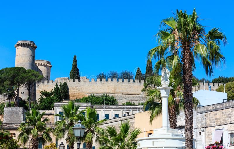 Medieval Oria town, Puglia, Italy. Small picturesque medieval town Oria, fortress wall and tower view, Brindisi region, Puglia, Italy stock image