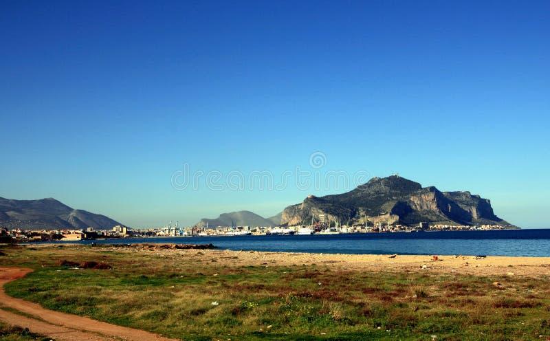 Palermo city port & Pellegrino mount, Sicily stock photos