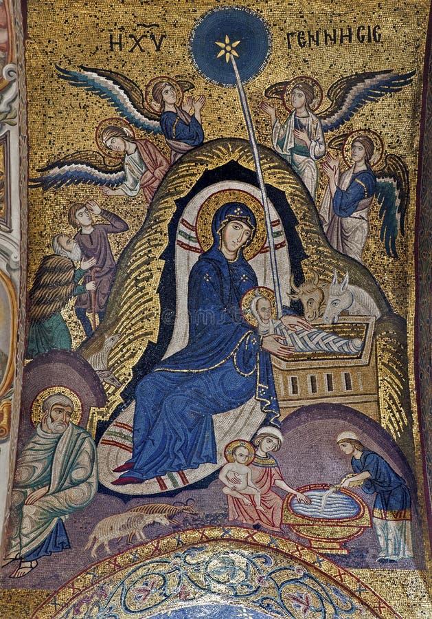 Palermo - detalle del mosaico de la natividad en techo de la iglesia del dell Ammiraglio de Santa Maria imagen de archivo