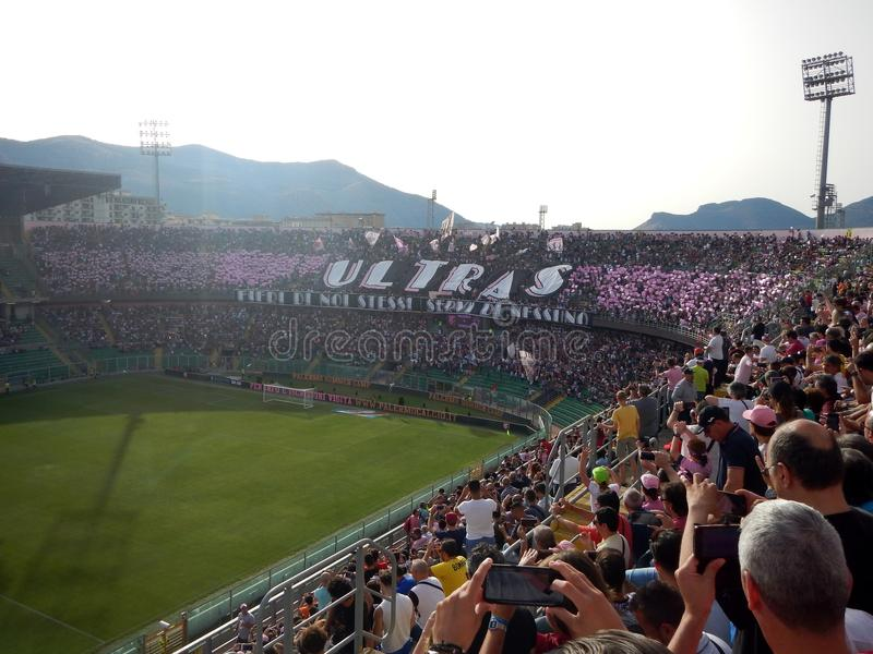 PALERMO, ITALIA - June 10, 2018 - US Città di Palermo vs Venezia - Serie B 2017-2018 Playoff. Fans of US Citta di Palermo show their support during the Serie royalty free stock image