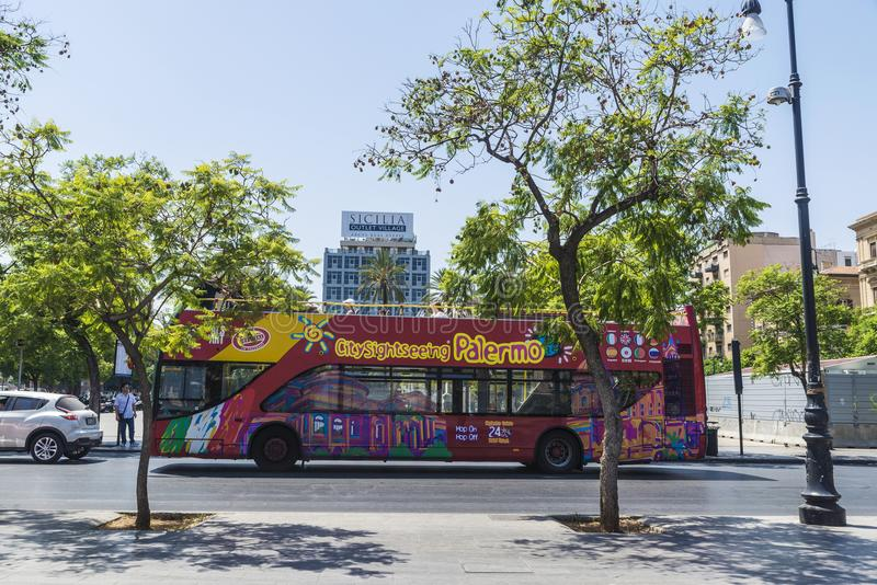 Tour bus in Palermo in Sicily, Italy stock photos
