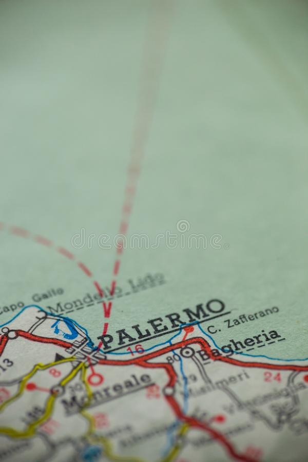 Palermo Italy Map. Palermo, Italy is the center of focus on an old map stock photography