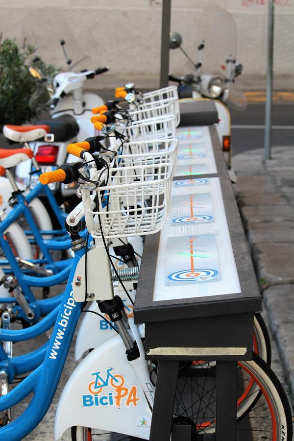 Palermo, Italy - October 16, 2016: bike sharing `bicipa` in Palermo. Palermo, Italy - October 16, 2016: evocative image of bike sharing `bicipa` in Palermo stock photography