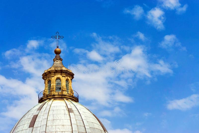 Palermo katedry wierza zbliżenie w Palermo, Włochy zdjęcie stock