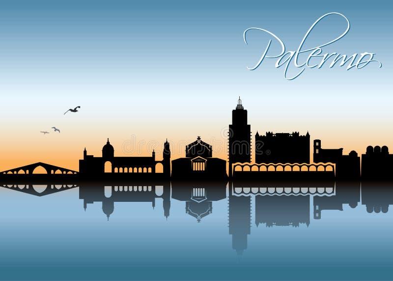 Palermo linia horyzontu wektorowa ilustracja - Sicily, Włochy - ilustracji