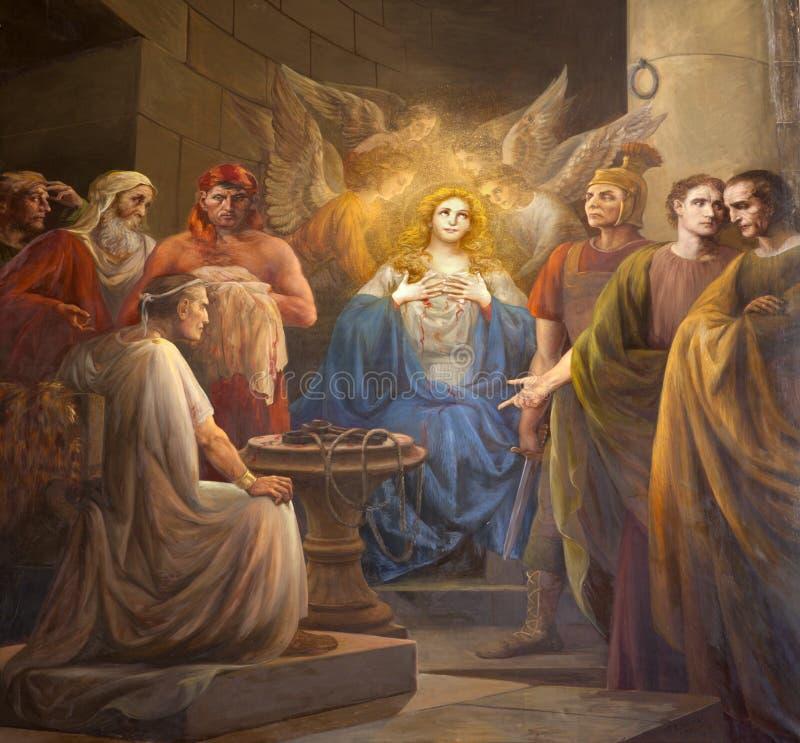 Palermo - målarfärg av tidig kristen martyrskap från sidokapell i den kyrkliga Lachiesaen del Gesu fotografering för bildbyråer