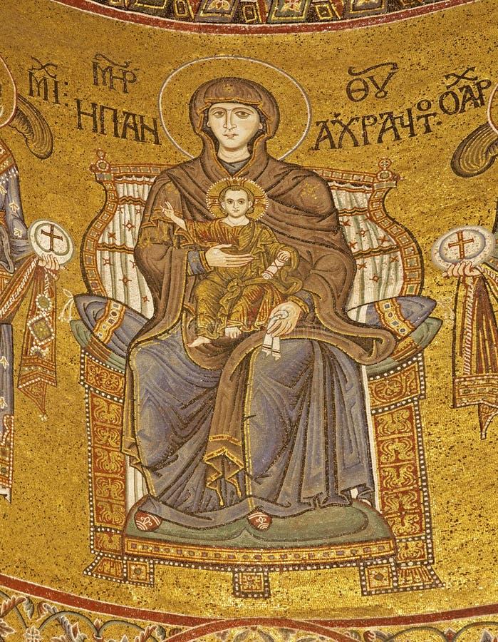 Palermo - madonna na tronie od głównej apsydy Monreale katedra obrazy stock
