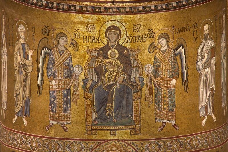 Palermo - Madonna und Engel von der Hauptapsis von Monreale-Kathedrale lizenzfreies stockfoto