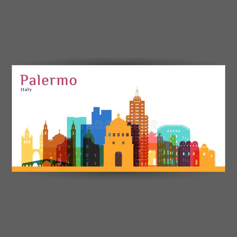 Palermo miasta architektury sylwetka ilustracja wektor