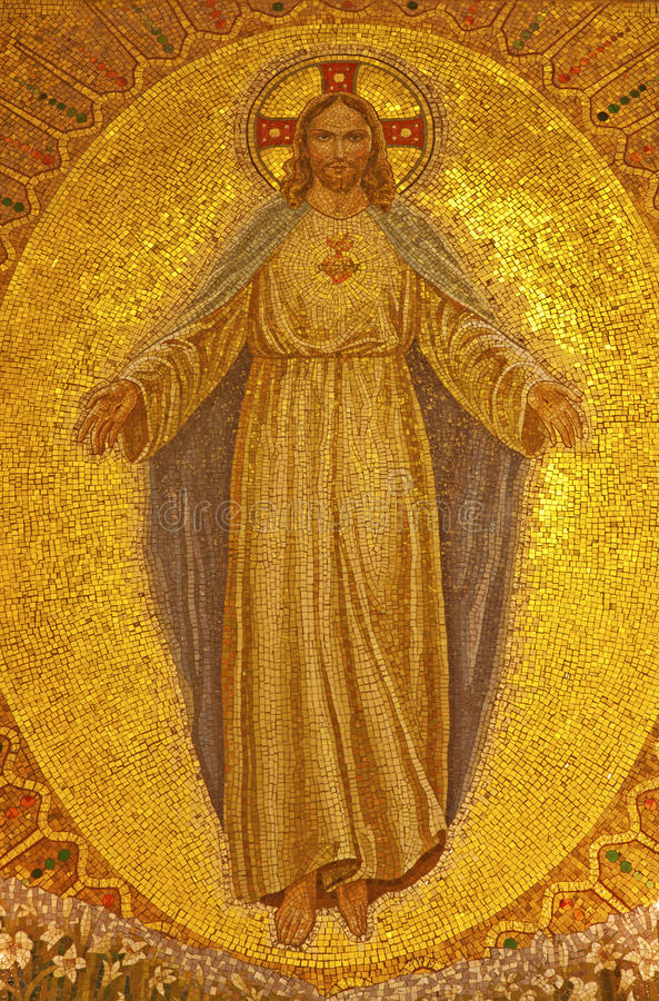 Palermo - mosaico de Jesus Christ de la iglesia Convento Dei Carmelitani Scalzi foto de archivo
