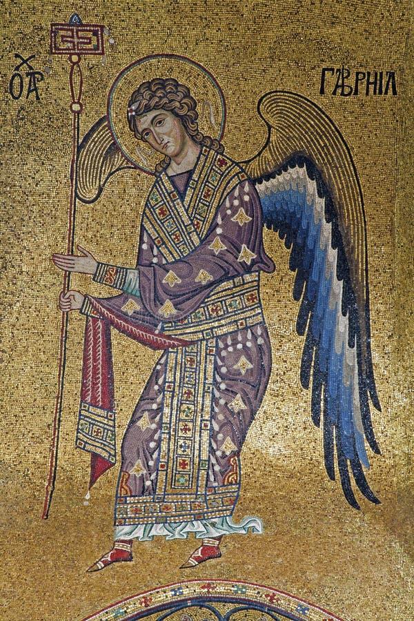 Palermo - mosaico del arcángel Gabriel de la iglesia del dell Ammiraglio de Santa Maria imagenes de archivo