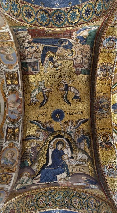 Palermo - mosaik av Kristi födelse på tak från kyrka av Santa Maria dell Ammiraglio royaltyfria foton