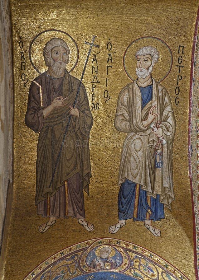 Palermo - Mosaik des Apostels Peter und Andrew in von der Kirche von Santa Maria-dell Ammiraglio stockbilder