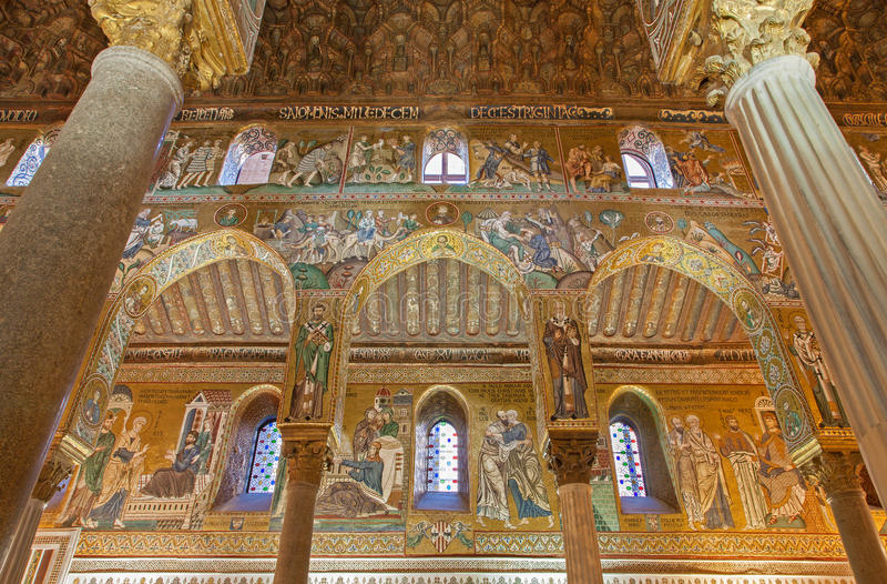Palermo - Mozaïek van Cappella Palatina stock foto's