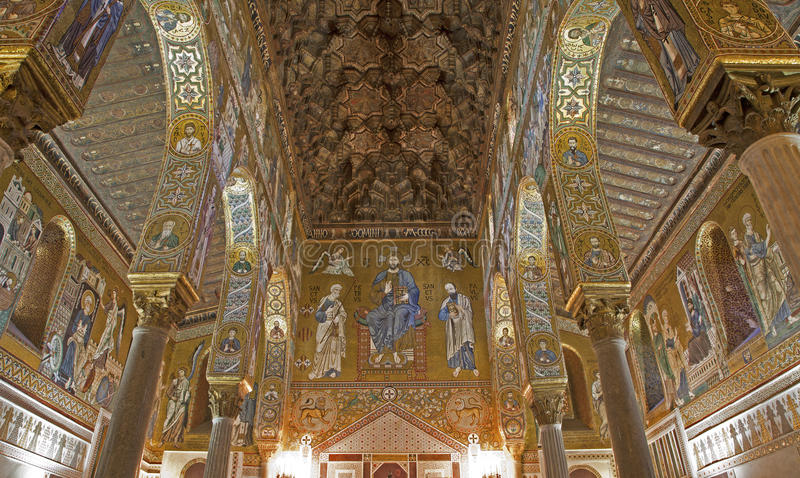 Palermo - Mozaïek van Cappella Palatina - Palatine Kapel stock afbeeldingen